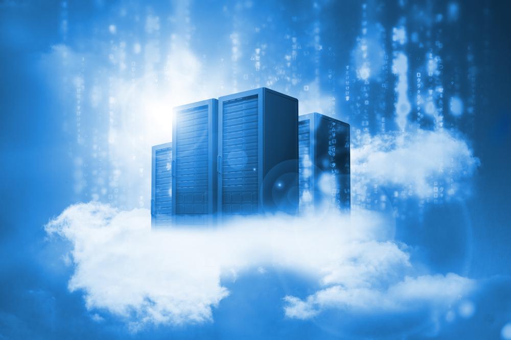 Data center che volano appoggiati su nuvole